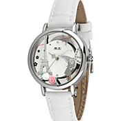 Women's Fashion Watch Quartz Leather Band White Pink