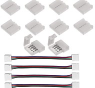 10PCS 4 Pin LED Strip Connector for 5050 RGB LED Strip Lights and  4PCS LED 5050 RGB Strip Light Connector 4 Conductor 10 mm Wide Strip to Strip Jump