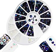 2pcs/set Fashion White&Laser Flame Mixed Size Shining Resin Jelly Rhinestone Decoration Nail Art Round Disc Glitter Rhinestone DIY Beauty