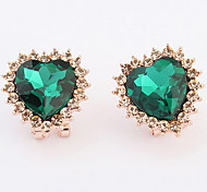 Korean Style Adorable Classic Love Gem Ear Clips Women's Party Stud Earrings Gift Jewelry