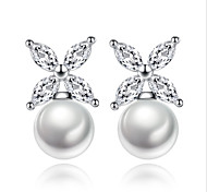 Stud Earrings 2017 New Korean Style Delicate Elegant  White Leaf Pearl Lady Daily Party Movie Jewelry