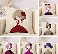 Set Of 6 Cartoon A Little Princess Printing Pillow Cover Cute Pillow Case 45*45Cm Cushion Cover