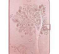 Для чехлов держатель карточки держатель кошелек с подставкой флип тиснение полный корпус кейс дерево кошка бабочка твердая кожа pu для