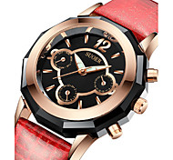 Women's Fashion Watch Quartz Digital Water Resistant / Water Proof Leather Band Black White Red Brown Navy