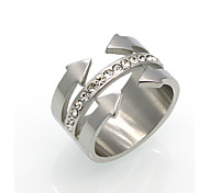 New Fashion 4  Arrow Cubic Zirconia Personality Brand Design 316L Stainless Steel  Rings For Women