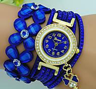 Жен. Часы-браслет Кварцевый Стразы Кожа Группа Цветы Богемные Черный Синий Красный Коричневый