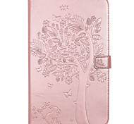 Для samsung galaxy tab t580 t280 чехол чехол карта держатель кошелек с подставкой флип тиснение полный корпус корпус дерево кошка бабочка