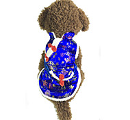 Собака Плащи Одежда для собак Новый год Вышивка Красный Синий