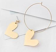 Stud Earrings Drop Earrings New Mismatching Asymmetry Earrings Personalized Copper Geometric Heart Shape For Women Party Gift Jewelry