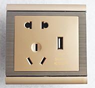 Type 86 USB Power Outlet 2 Bit 3 Bit Golden