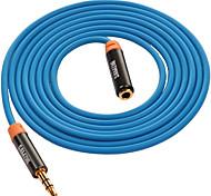 Audio jack de 3.5mm Cable de extensión, Audio jack de 3.5mm to Audio jack de 3.5mm Cable de extensión Macho - Hembra Cobre dorado1,5 m (5