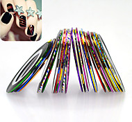 32pcs/set Nail Art 3D Glittter Colorful Laser Striping Tape Line Glitter Foil Stripping Tape DIY Design Manicure Beauty Decoration