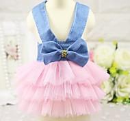 Кошка Собака Платья смокинг Одежда для собак Для вечеринки ковбой На каждый день Свадьба Принцесса Белый Розовый
