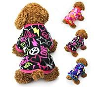 Кошка Собака Плащи Футболка Толстовка Одежда для собак Для вечеринки На каждый день Сохраняет тепло Сердца Черный Пурпурный Синий