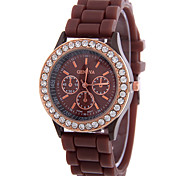 Women's Fashion Watch Quartz Rhinestone Silicone Band Casual Watch