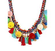 Жен. Заявление ожерелья Бижутерия Геометрической формы Хлопко-льняная смешанная ткань Полиэфирно-льняная смешанная тканьКруглый дизайн