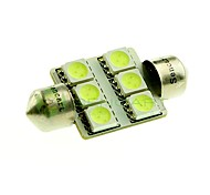 36mm 6x5050 SMD LED 100lm Green Lights Festoon Dome Reading Map License Plate Light Bulb for Car (DC 12V)