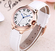 Women's Fashion Watch Wrist watch Quartz Leather Genuine Leather Band Black White Red Purple