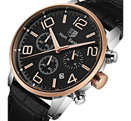 Men's Fashion Watch Wrist watch Quartz Leather Band Black Brown