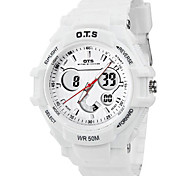 Men's Fashion Watch Digital Rubber Band White