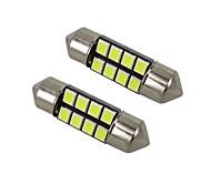 1w белый dc12v 36mm festoon 8smd 2835 светодиодный светильник для ламп с подсветкой для ламп 2pcs