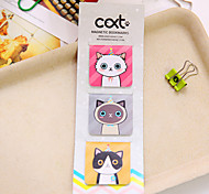 3 шт. / Набор магнитной закладки для мультяшной кошки (случайный цвет)