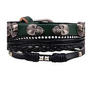 Муж. Wrap Браслеты Кожаные браслеты Мода По заказу покупателя Rock Ручная работа Сделай-сам Кожа Сплав В форме черепа Бижутерия Назначение