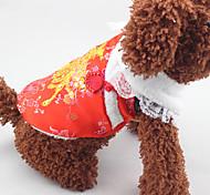 Собака Плащи Одежда для собак Новый год Пайетки Красный