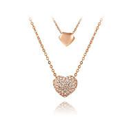 Жен. Ожерелья с подвесками Ожерелья-цепочки Цирконий Любовь Сердце Милая Bling Bling Бижутерия Назначение Вечерние Повседневные Свидание