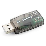 USB 2.0 virtuell 3D-lydkort (5.1, grå)