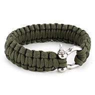 Para-Cord Survival Bracelet with Aluminium Connection Buckle (Green)