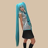 Cosplay Wigs Vocaloid Hatsune Miku Plava Extra Long / Ravan kroj Anime / Video Igre Cosplay Wigs 120 CM Otporna na toplinu vlakna Female