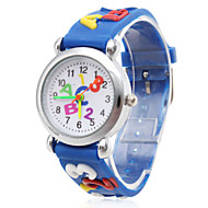 Children's Letters Pattern Blue Silicone Band Quartz Analog Wrist Watch Cool Watches Unique Watches Fashion Watch