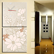 """12""""-24"""" Modern Style Floral Wall Clock in Canvas 2pcs"""