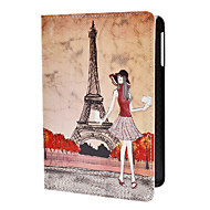 Girl and Eiffel Tower Pattern PU Leather Case w/ Stand for iPad mini 3, iPad mini 2, iPad mini