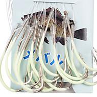 Anzuelo noctilucentes Para la pesca marítima Con el 100CM-Line (20 piezas / paquete) 20 # -24 # HQ002 (amarillo)