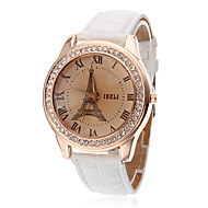 Women's Eiffel Tower Style PU Analog Quartz Wrist Watch (White)