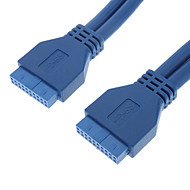 USB3.0 20P F / F Pyöreä kaapeli (0,5 m, Blue)
