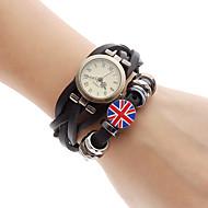 Frauen UK Flag Style Leder Analog Quarz-Armbanduhr (schwarz)