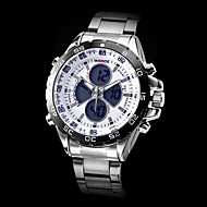 WEIDE 男性 軍用腕時計 リストウォッチ LCD カレンダー クロノグラフ付き 耐水 2タイムゾーン アラーム クォーツ 日本産クォーツ ステンレス バンド シルバー