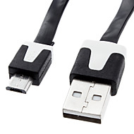 USB 2.0 Male to Micro USB Male Charging Sync Data Flat Cable (300cm)