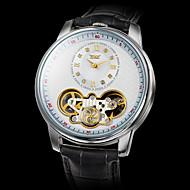 Men's Auto-Mechanical Fashion Tourbillon Black Leather Band Wrist Watch (Assorted Colors)