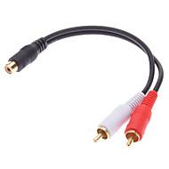 jsj® 0.2m 0.656ft rca hunn til 2x rca hann-kabelen svart for musikkopptak