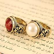 perlas redondas de la vendimia de las mujeres preciosas anillos de piedras talladas