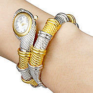 Women's Snake Shape White Dial Quartz Analog Bracelet Watch