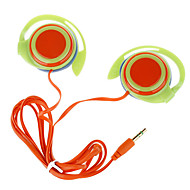 유행 귀 걸이 입체 음향 이어폰 - 그린 + 오렌지 (3.5mm-Plug/120cm-Cable)