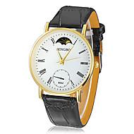 Herren Gold runden Zifferblatt PU-Band Quarz Analog-Armbanduhr (farbig sortiert)