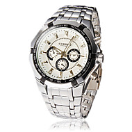 Men's Round Dial Steel Band Quartz Analog Wrist Watch (Assorted Colors)