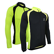 Arsuxeo® Camisa para Ciclismo Homens Manga Comprida Moto Respirável / Mantenha Quente / Secagem Rápida / Zíper Frontal / Redutor de Suor