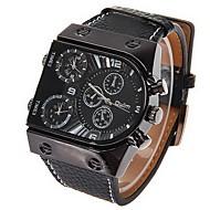 Oulm Herren Militäruhr Armbanduhr Quartz Japanischer Quartz Duale Zeitzonen Leder Band Schwarz Schwarz
